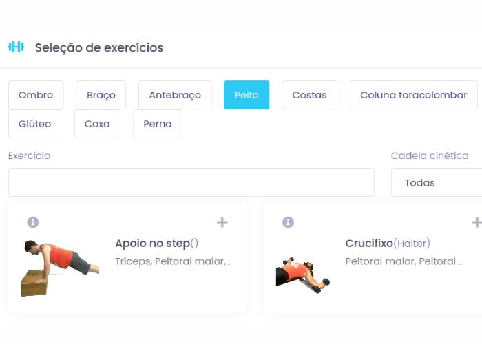 Seleção de exercícios no Eksy: filtrando exercícios para o grupo muscular peitoral