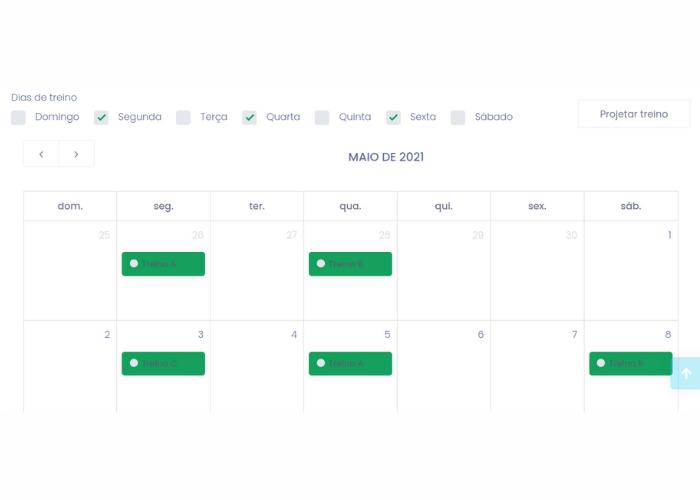 Calendário de treinos no Eksy